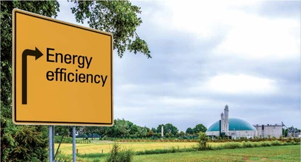 Sign with the inscription energy efficiency refers to a combined heat and power plant