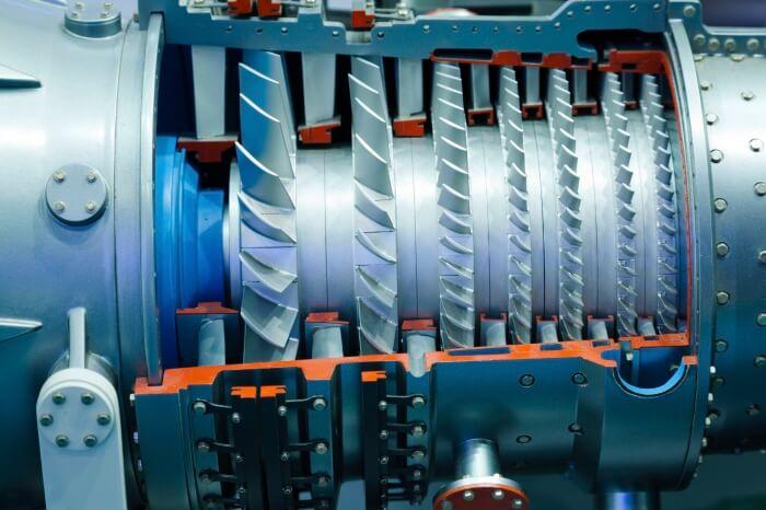 The interior of a turbine