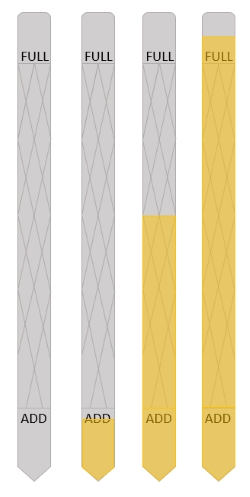 Oil dipsticks with different oil levels