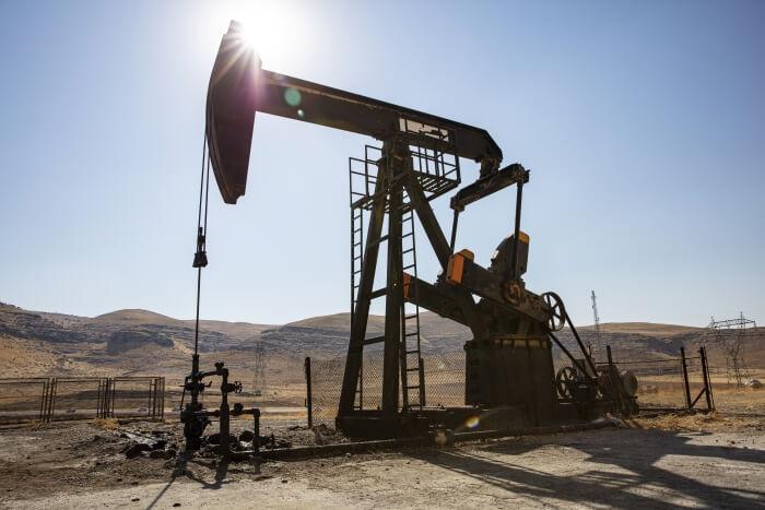 Oil drilling in a desert