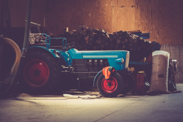 Tractor in a barn